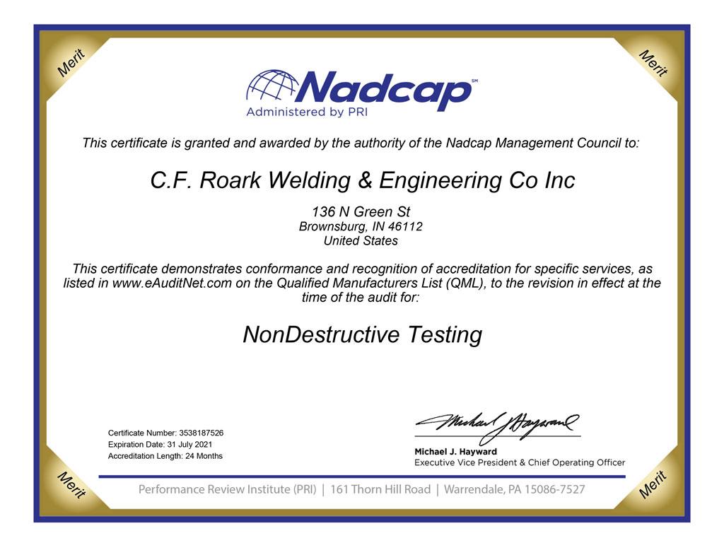 nadcap nondestructive testing certification